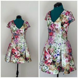 Floral True Decadence Mini Tea V-neck dress Sz 10
